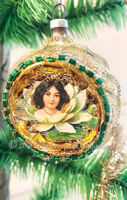 Brunette Lily Pad Maiden in Silver Indent Framed with Emerald Green Glass Beadwork