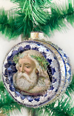 Frosty Santa in Violet-Blue Indent Framed with Ornate Gold and Silver Embossed Paper Trim