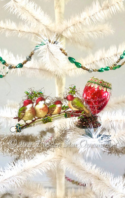 Spritely Birds Perched on Fanciful Red Pipe Clip-On Ornament
