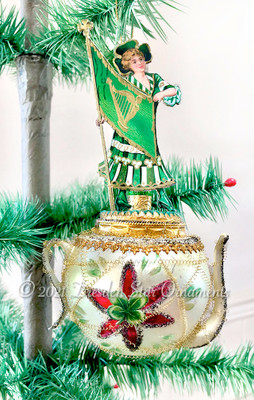 Fabulous St. Patrick's Day Maiden on Rare Large Graceful Irish Teapot Ornament