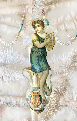 Fairy with Lyre and Spun-Glass Wings on Decorated Light-Green Greek Glass Urn Ornament
