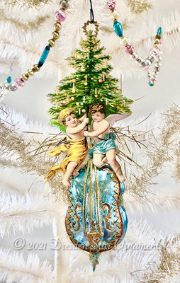 Twin Angels Holding Christmas Tree on Pretty Blue Glass Base or Cello Stringed Instrument Ornament