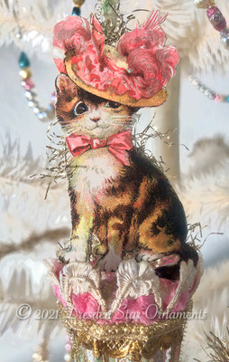 "Cute Kitty in Pink Lady's Bonnet on Victorian Glass Parasol ""End of Day"" Ornament"