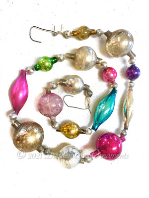 Victorian Glass Bead Garland Made with Antique Beads – 2 Ft length BV21001