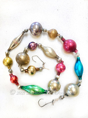Victorian Glass Bead Garland Made with Antique Beads – 2 Ft length BV21003