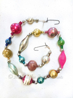 Victorian Glass Bead Garland Made with Antique Beads – 2 Ft length BV21005