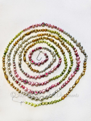 Spring Celebration Variation 1 - Fancy Multicolored Glass Bead Garland in Pastel Pink, Light Green, Dazzling Gold, Silver –  9 Foot Length