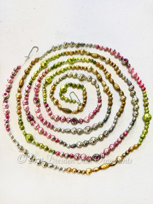 Spring Celebration Variation 2 - Fancy Multicolored Glass Bead Garland in Pastel Pink, Light Green, Dazzling Gold, Silver – 9 Foot Length