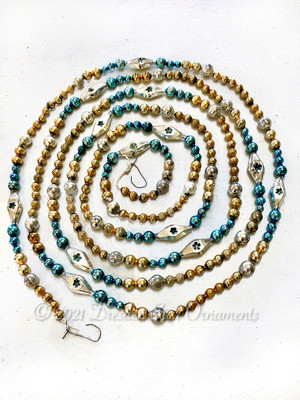 Beautiful Vintage Multicolored Glass Bead Garland in Royal Blue, Gold, Silver – 9 Foot Length