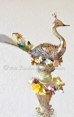 Reserved for Michaele – Fanciful Swan Nested in Glass Cone Topper Ringed with Flowers