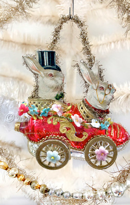 Reserved for Dennis - Rabbits Riding Red Glass Shoe Car With Paper Wheels and Tiny Floral Garland