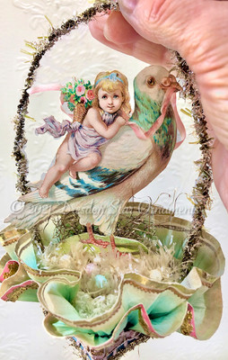 Reserved for Gabrielle - Fairy-Child Riding Beautiful Pigeon on Double-Ruffle Aqua Nut Cup with Easter Eggs