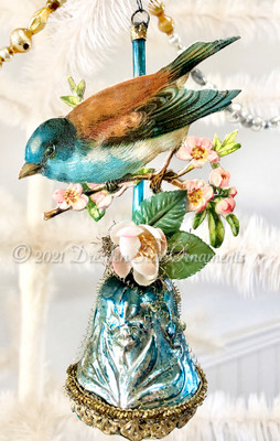 Gorgeous Bluebird on Blue Embossed Antique Bell with Cherry Blossoms