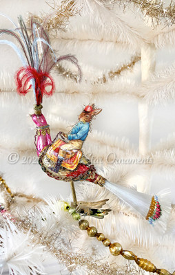 Rabbit Riding Flamboyant Peacock Clip-On Ornament