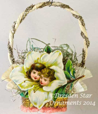 White Azalea with Children's Faces on White Double-Ruffle Crepe Paper Basket