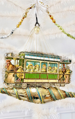 Chicks and Hens Riding Cable-Car on Fanciful Gold Icicle Ornament