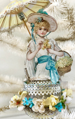 Easter Girl with Parasol on Stunning Glass Clip-on Ornament with Blue and Yellow Flowers