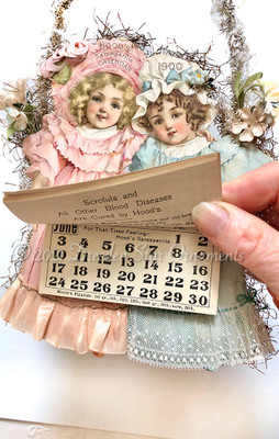 Hood's 1900 Advertising Calendar with Victorian Twin Girls