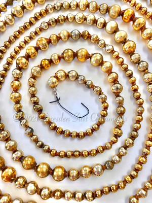 Reserved for Jen - Vintage Gold Glass Graduated Bead Garland – 9 ft length