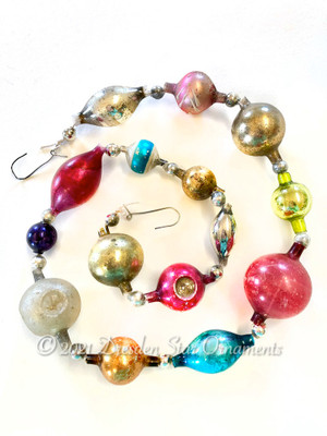 Reserved for Vivian - Victorian Glass Bead Garland Made with Antique Beads – 2 Ft length VZ060621B