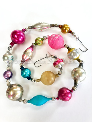 Reserved for Vivian - Victorian Glass Bead Garland Made with Antique Beads – 2 Ft length VZ062521B