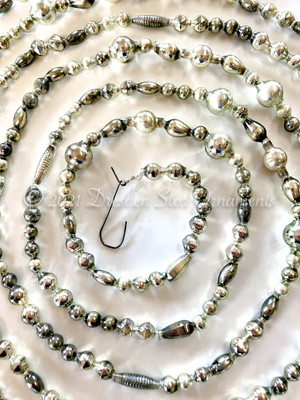 Reserved for Dennis - Fancy Vintage & Antique Silver Glass Bead Garland – 9 ft length