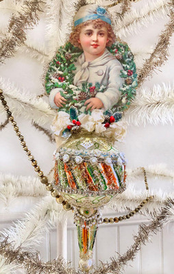 Reserved for Dennis – Dreamy Snow Boy with Beautiful Evergreen Wreath on Large Glass Spindle Ornament