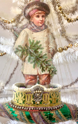 Reserved for Dennis – Large Scrap Boy Holding Tree on Large Glorious Christmas Ship