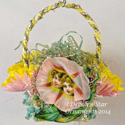 Pink Morning Glory with Children's Faces on Pink-and-Yellow Crepe Paper Basket