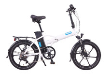 Magnum Electric | Premium High Step | Electric Folding Bike | 2020 | White with Blue Accents