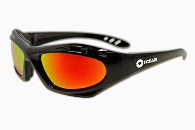 Hobart Shade 5 Mirrored Lens Safety Glasses w/ Black Frame