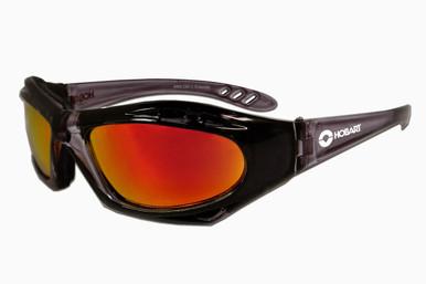 Hobart Shaded Mirrored Lens Safety Glasses w/ Smoke Black Frame