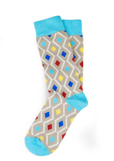Xhosa-Inspired Ikat Blue-Grey Print Socks