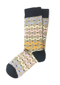 Xhosa-Inspired Brown Curved Diamond Socks