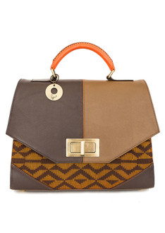 Ameena-A brown aso oke leather tote