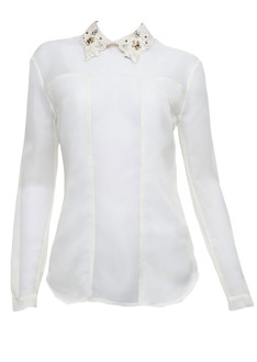Organza bead collar off-white blouse