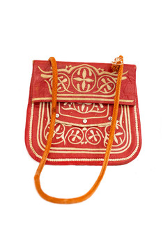 Red vintage leather berber bag