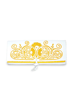 White and yellow embroidered leather clutch