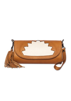 Camel and cream rehana leather clutch bag
