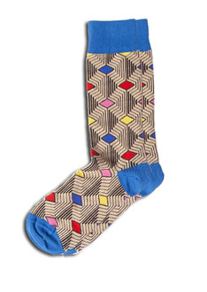 Brown Blue Print Sock