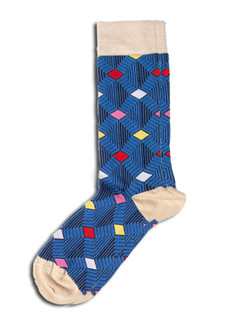 Blue Pattern Print Sock