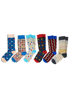 6 Pack Pattern Socks