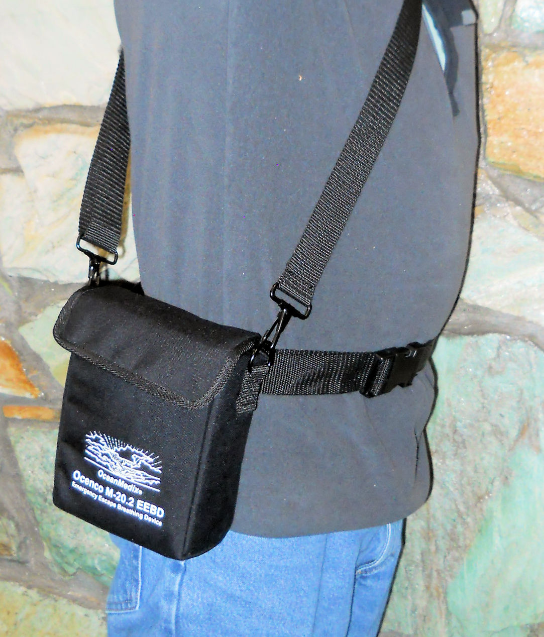 Utility Pouch for Ocenco M-20 Series EEBD - being worn