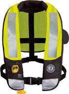 Mustang T3 High Visibility Deluxe Auto Inflatable Type V PFD - high visibility fluorescent yellow