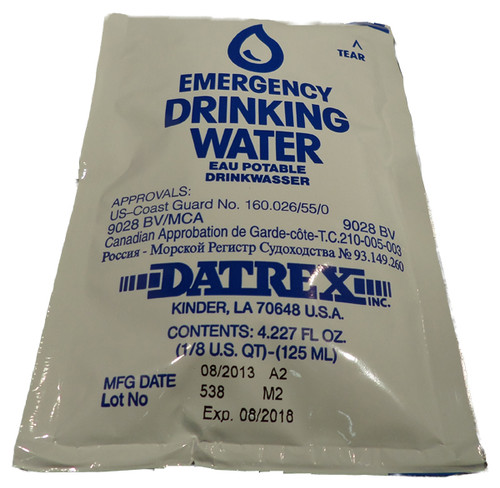 Datrex Emergency Drinking Water - 125 ml Sachets - USCG/SOLAS/BV (front)