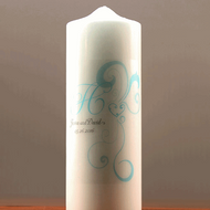 Heart Filigree Personalized Pillar Candle