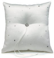 Scattered Pearls and Crystals Ring Pillow