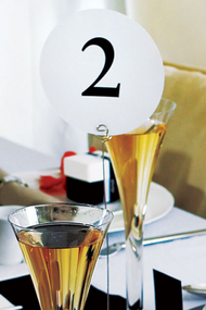 White Round Table Number Cards