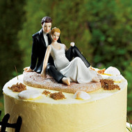 Romantic Couple Lounging on the Beach Cake Topper