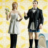 "Bride ""In Charge"" Wearing Pants and Groom ""Not In Charge"" Cake Topper Set"